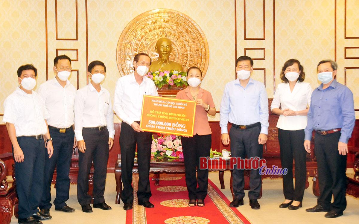 TP. Hồ Chí Minh tặng Bình Phước 500 triệu đồng cho công tác phòng, chống dịch